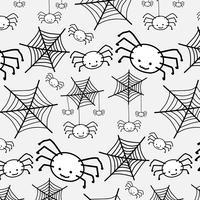 Glückliches Halloween-Muster mit Spinne. Lustiger niedlicher Cartoon-Babycharakter.