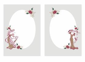 Rahmen, Postkarte. Vintage Mädchen in Hüten mit Sonnenschirmen. Der ovale Rahmen. Grußkarte zu Glückwünschen. Vektor.