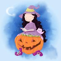 Gullig tecknad illustration med tjej häxa. Vykortaffischtryck för semestern Halloween.