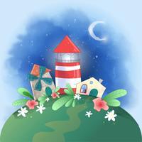 Gullig tecknad liten stad fyr, kvarn och hus med blommor, vykort tryckta affisch för barnens rum.