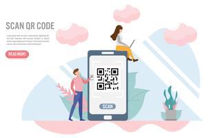 Skanna QR kod. Betalningskoncept med character.Creative flat design för webb banner