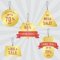 Sats på försäljningsetiketter och banner. Lyxig gyllene design.