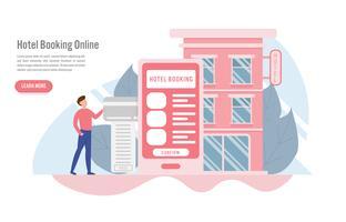 Hotelbuchung online und Reservierungskonzept mit Charakter. Kreatives flaches Design für Netzfahne