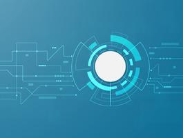 Sammanfattning Dator Digital Teknik bakgrund. Futuristiska kretskortet blått virtuellt grafiskt gränssnitt. Blank vit 3d papperscirkel.
