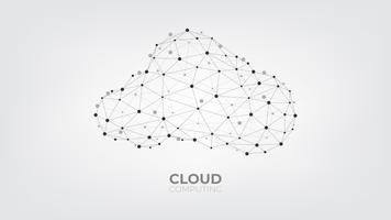 Abstrakte Verbindungspunkte und Linien mit Datenverarbeitungstechnologie der Wolke auf weißem und grauem Hintergrund.