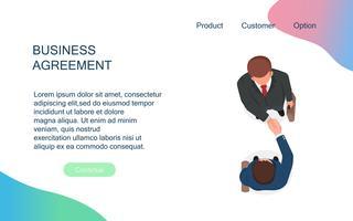 Överenskommelse mellan affärsmän skakar hand om samarbete och avtal efter förhandlingsmöte på kontoret. Produktivt partnerskap och framgångsrik affärsidé. Uppifrån perspektiv vektor illustration.