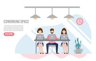 Kreativa människor som sitter vid bordet, Coworking rymdkoncept med karaktär. Kreativ platt design för webb banner