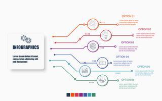 Grundläggande RGBTechnology och Business Infographic Mall med 6 alternativ, process eller steg. Moderna layout grafiska element design. Vektor illustration.