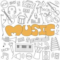 Hand gezeichnetes Gekritzel des Musiksatzes