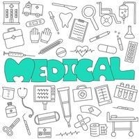 Hand gezeichnetes Gekritzel des medizinischen und Gesundheitswesensatzes