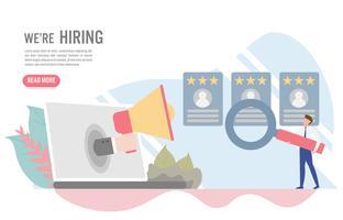 Anställnings- och rekryteringskoncept med karaktär. Sköna plandesign för webbbanner