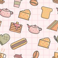 Söt sömlöst mönster med frukost