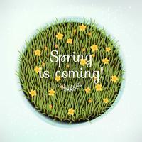 Frühling kommt rundes Gestaltungselement vektor