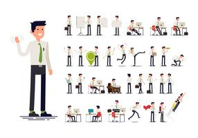 Weißes Hemd gekleidete Geschäftsmanngesten, -aktionen und -haltungen vektor
