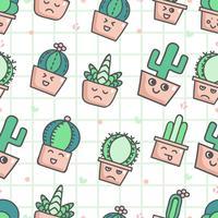 Söt sömlöst mönster med kaktus vektor