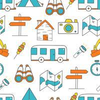 Söt sömlöst mönster med camping