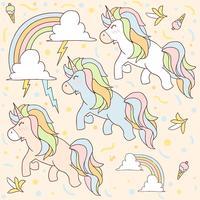 unicorn mönster söt enhörning som flyger med åska och regnbåge vektor