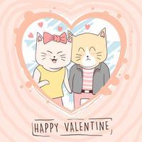 katt söt kärlek valentin par vektor