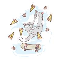 CAT CUTE SKATEBOARD OCH PIZA VECTOR