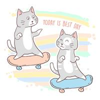 katt söt ungdom skateboard vektor
