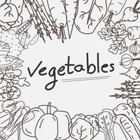 Handdragen Grönsaker Doodles Bakgrund. vektor