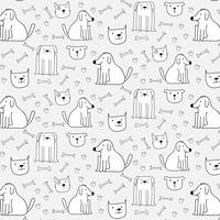 Handdragen söta hundar mönster bakgrund. Vektor illustration.