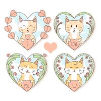 CAT AUTUMN OCH VALENTIN CUTE VECTOR