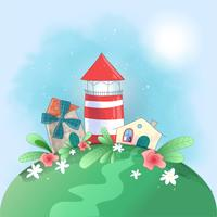 Niedlicher Cartoonkleinstadtleuchtturm, -mühle und -haus mit Blumen, Postkartendruckplakat für das Kinderzimmer.