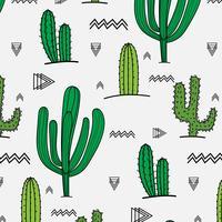 Handdragen tropisk kaktusmönster. Vektor illustration bakgrund.