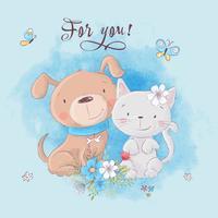 Gullig tecknadkatt och hund med blommor, vykorttryckaffisch för barnens rum.