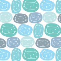Handdragen söta kattmönster bakgrund. Vektor illustration.
