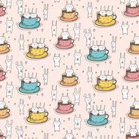Mönster med söta kaniner i koppen. Vektor illustration.