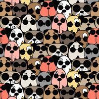 Handdragen Cool Dogs Pattern Background. Vektor illustration.