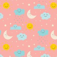 Lächelnder netter Wolken-Muster-Hintergrund. Vektor-Illustration.