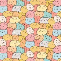 Netter Katzen-Vektor-Muster-Hintergrund. Spaß-Gekritzel. Handgemachte Vektor-Illustration.