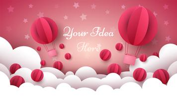 Alla hjärtans dag illustration. Luftballong, hjärta, moln. vektor