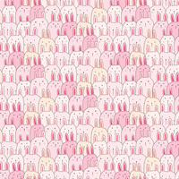 Hand gezeichneter netter Bunny Vector Pattern Background. Gekritzel lustig. Handgemachte Vektor-Illustration.