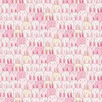 Handdragen söt kanin vektor mönster bakgrund. Doodle Roligt. Handgjord vektorillustration.