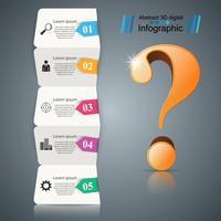 Busines Infografik. Papier mit fünf Gegenständen. Frage-Symbol.