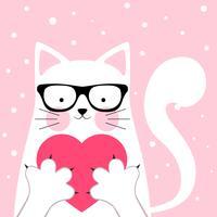 Rolig, söt katt. kärlek illustration.