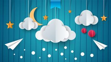 Pappersillustration. Flygplan, moln, måne, stjärna.