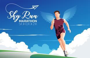 maratonlöpande temakonst vektor