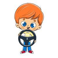 Junge mit einem Lenkrad in seiner Hand fahren