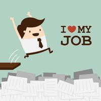 Kärlek jobb. Glad affärsman. vektor