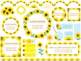Satz sortierte Sonnenblumenrahmen, -grenzen und -umbauten. vektor