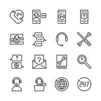 Call center och support icon set.Vector illustration