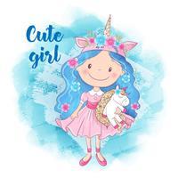 Söt Cartoon Girl och Unicorn på en blå bakgrund
