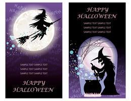 Ställ av två lyckliga halloween hälsningskort mallar med häxor. vektor