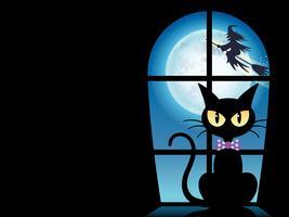 Glückliche Halloween-Grußkartenschablone mit einer schwarzen Katze am Fenster. vektor