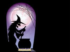 Glückliche Halloween-Grußkartenschablone mit einer Hexe, die ein geheimes Elixier vorbereitet. vektor